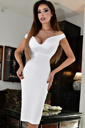Tall slim busty woman in a tight white dress